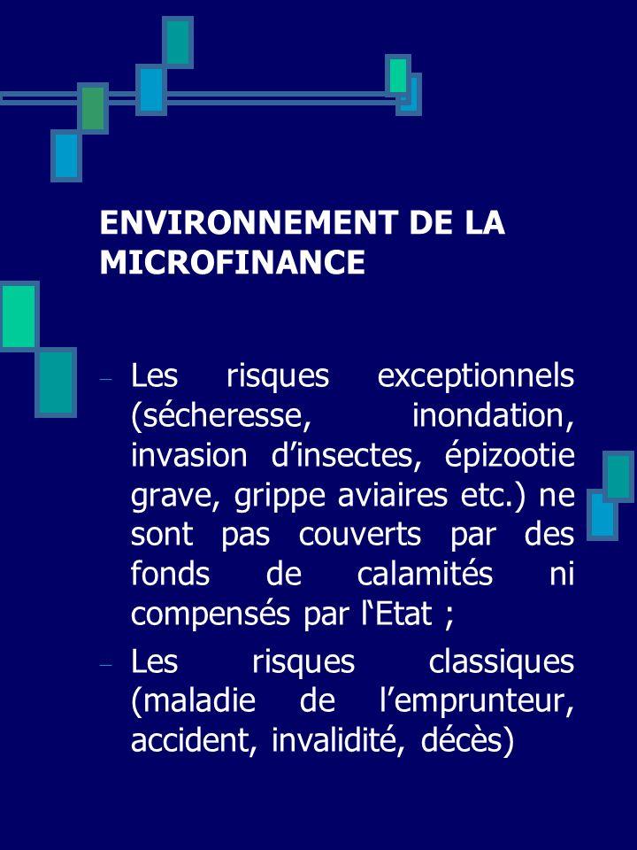 ENVIRONNEMENT DE LA MICROFINANCE Les risques exceptionnels (sécheresse, inondation, invasion dinsectes, épizootie grave, grippe aviaires etc.) ne sont