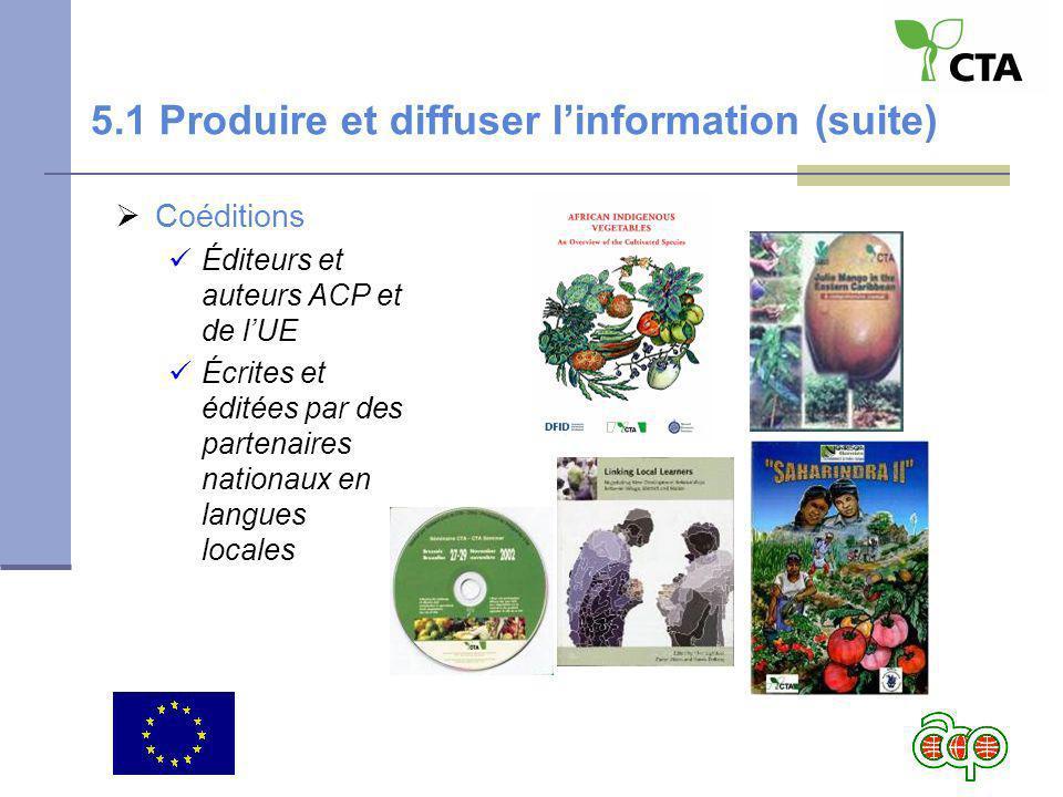 Coéditions Éditeurs et auteurs ACP et de lUE Écrites et éditées par des partenaires nationaux en langues locales 5.1 Produire et diffuser linformation