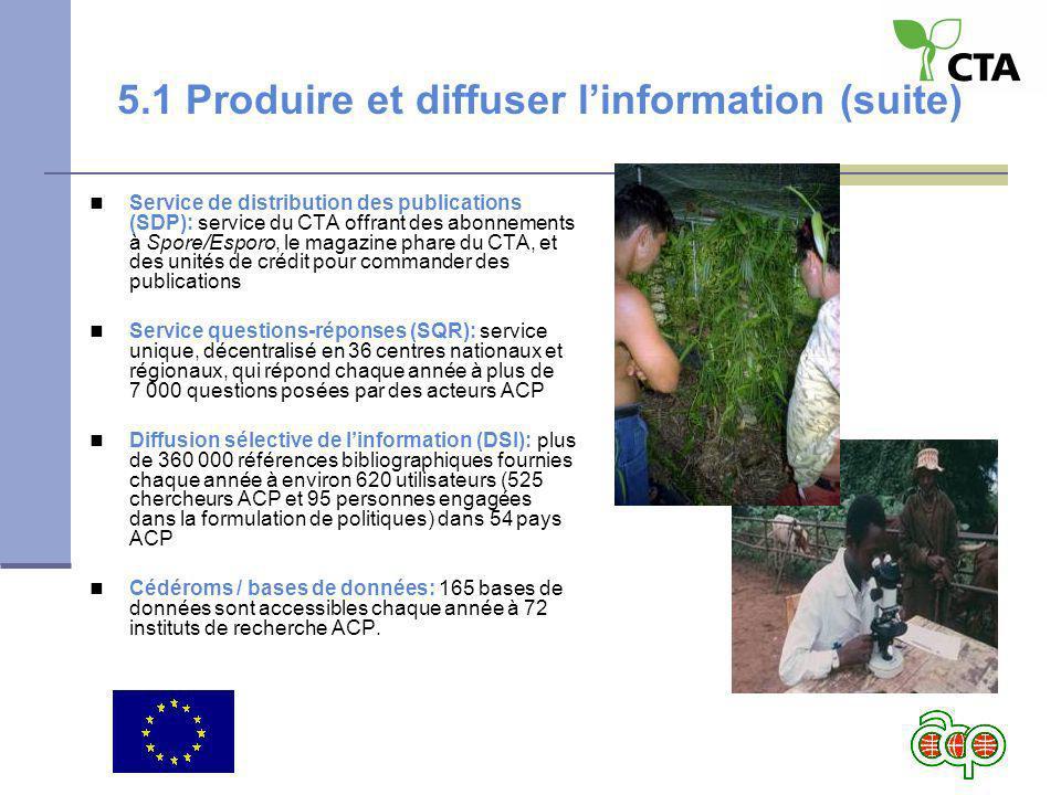 5.1 Produire et diffuser linformation (suite) Service de distribution des publications (SDP): service du CTA offrant des abonnements à Spore/Esporo, l