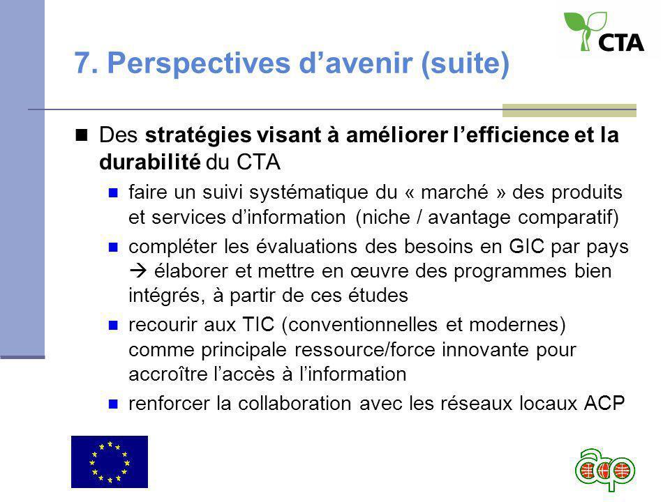 7. Perspectives davenir (suite) Des stratégies visant à améliorer lefficience et la durabilité du CTA faire un suivi systématique du « marché » des pr