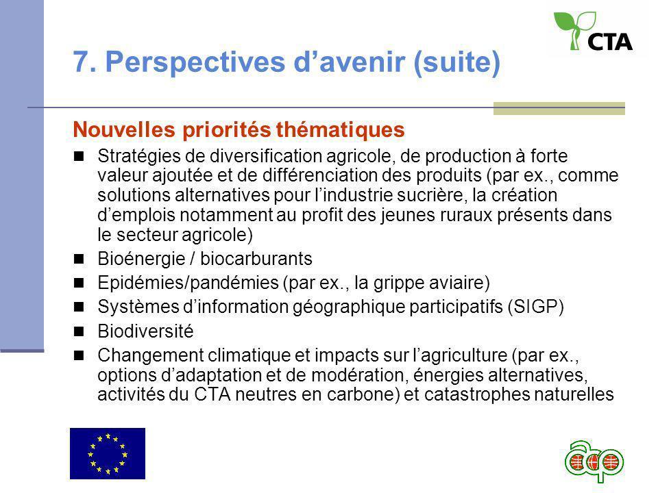 7. Perspectives davenir (suite) Nouvelles priorités thématiques Stratégies de diversification agricole, de production à forte valeur ajoutée et de dif