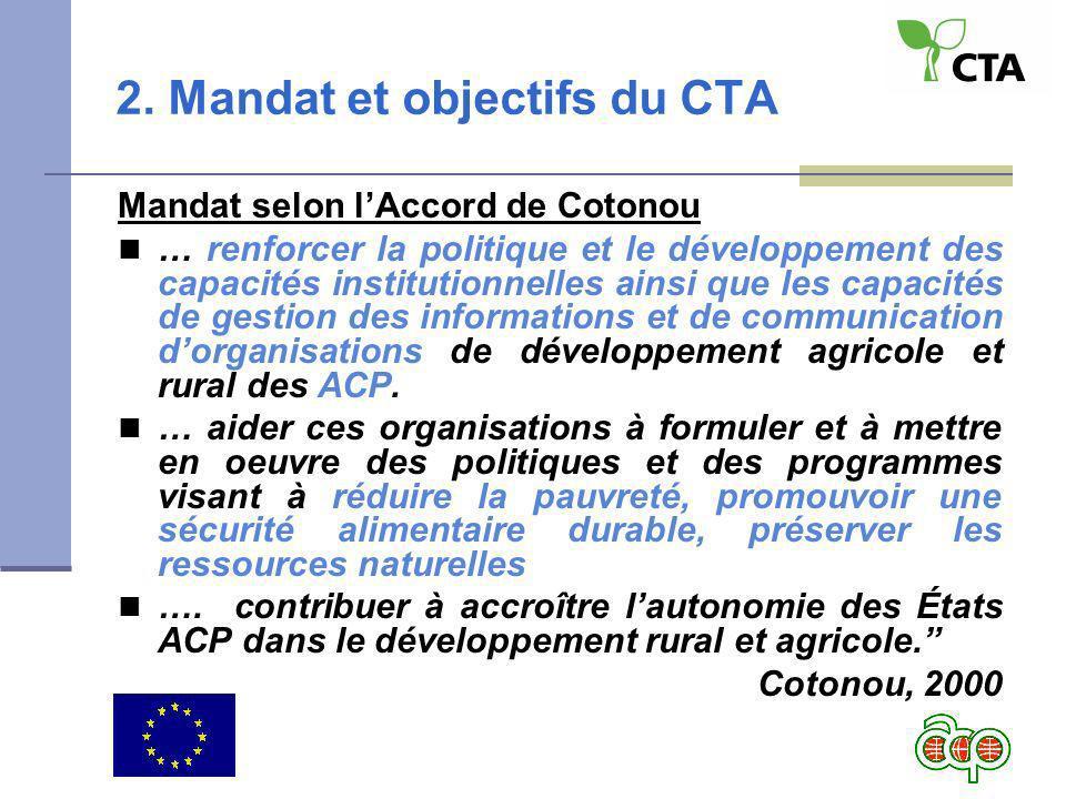 2. Mandat et objectifs du CTA Mandat selon lAccord de Cotonou … renforcer la politique et le développement des capacités institutionnelles ainsi que l
