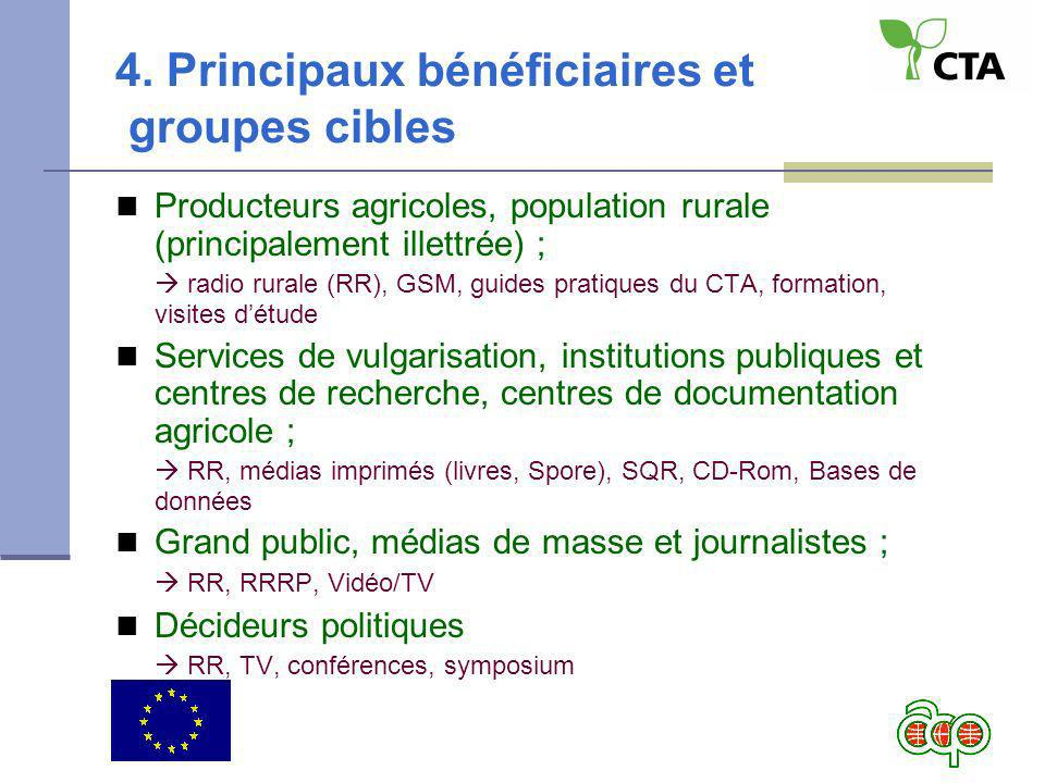 4. Principaux bénéficiaires et groupes cibles Producteurs agricoles, population rurale (principalement illettrée) ; radio rurale (RR), GSM, guides pra