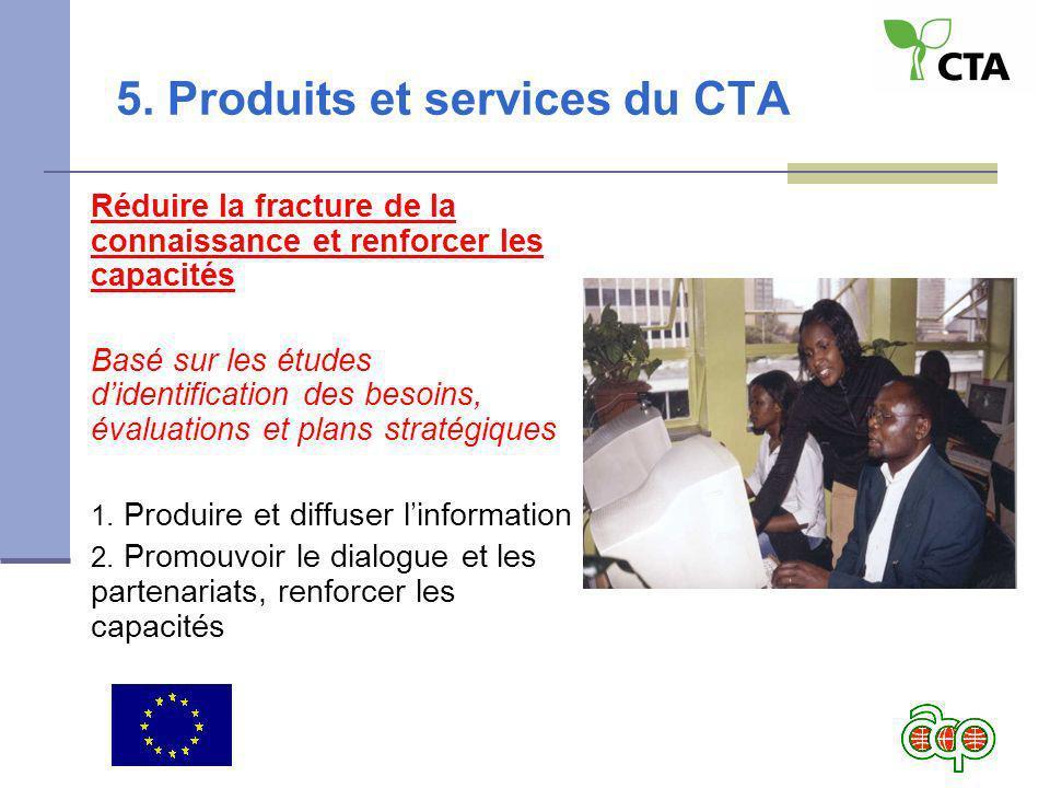 5. Produits et services du CTA Réduire la fracture de la connaissance et renforcer les capacités Basé sur les études didentification des besoins, éval