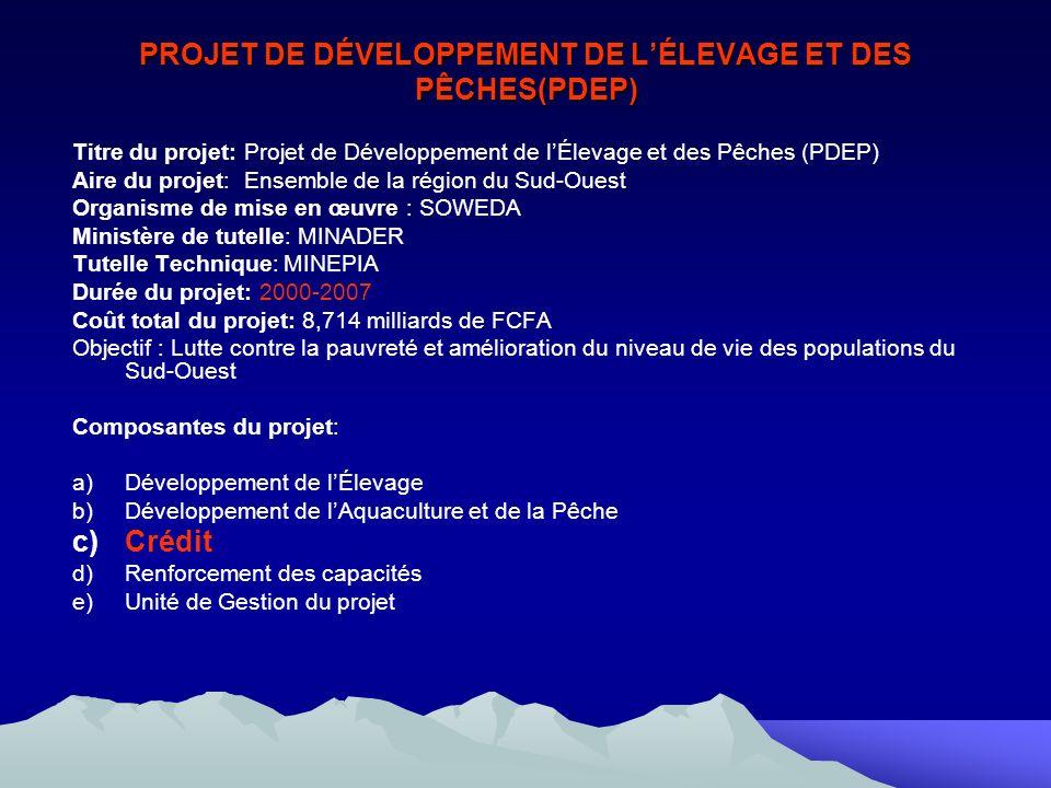 PROJET DE DÉVELOPPEMENT DE LÉLEVAGE ET DES PÊCHES(PDEP) Titre du projet: Projet de Développement de lÉlevage et des Pêches (PDEP) Aire du projet: Ensemble de la région du Sud-Ouest Organisme de mise en œuvre : SOWEDA Ministère de tutelle: MINADER Tutelle Technique: MINEPIA Durée du projet: 2000-2007 Coût total du projet: 8,714 milliards de FCFA Objectif : Lutte contre la pauvreté et amélioration du niveau de vie des populations du Sud-Ouest Composantes du projet: a)Développement de lÉlevage b)Développement de lAquaculture et de la Pêche c)Crédit d)Renforcement des capacités e)Unité de Gestion du projet