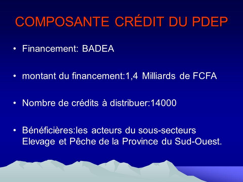 COMPOSANTE CRÉDIT DU PDEP Financement: BADEA montant du financement:1,4 Milliards de FCFA Nombre de crédits à distribuer:14000 Bénéficières:les acteurs du sous-secteurs Elevage et Pêche de la Province du Sud-Ouest.