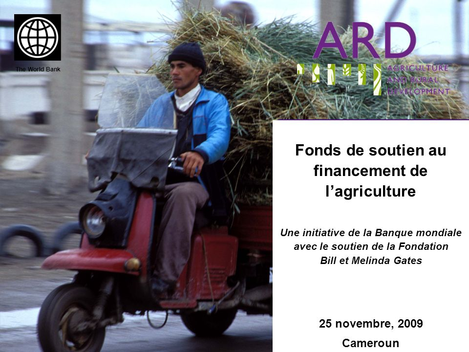 Fonds de soutien au financement de lagriculture Une initiative de la Banque mondiale avec le soutien de la Fondation Bill et Melinda Gates 25 novembre, 2009 Cameroun The World Bank