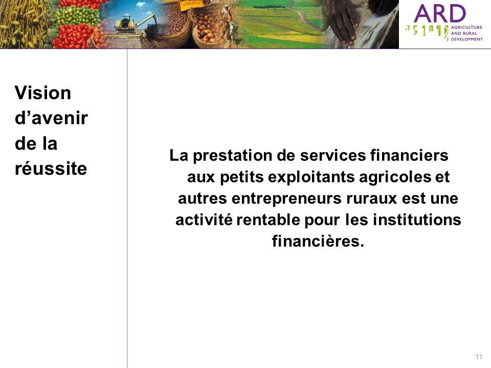 11 Vision davenir de la réussite La prestation de services financiers aux petits exploitants agricoles et autres entrepreneurs ruraux est une activité