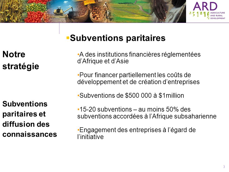 3 Notre stratégie Subventions paritaires et diffusion des connaissances Subventions paritaires A des institutions financières réglementées dAfrique et