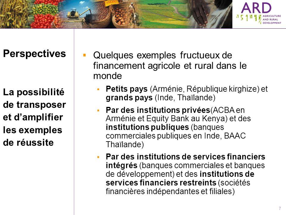 7 Perspectives La possibilité de transposer et damplifier les exemples de réussite Quelques exemples fructueux de financement agricole et rural dans l