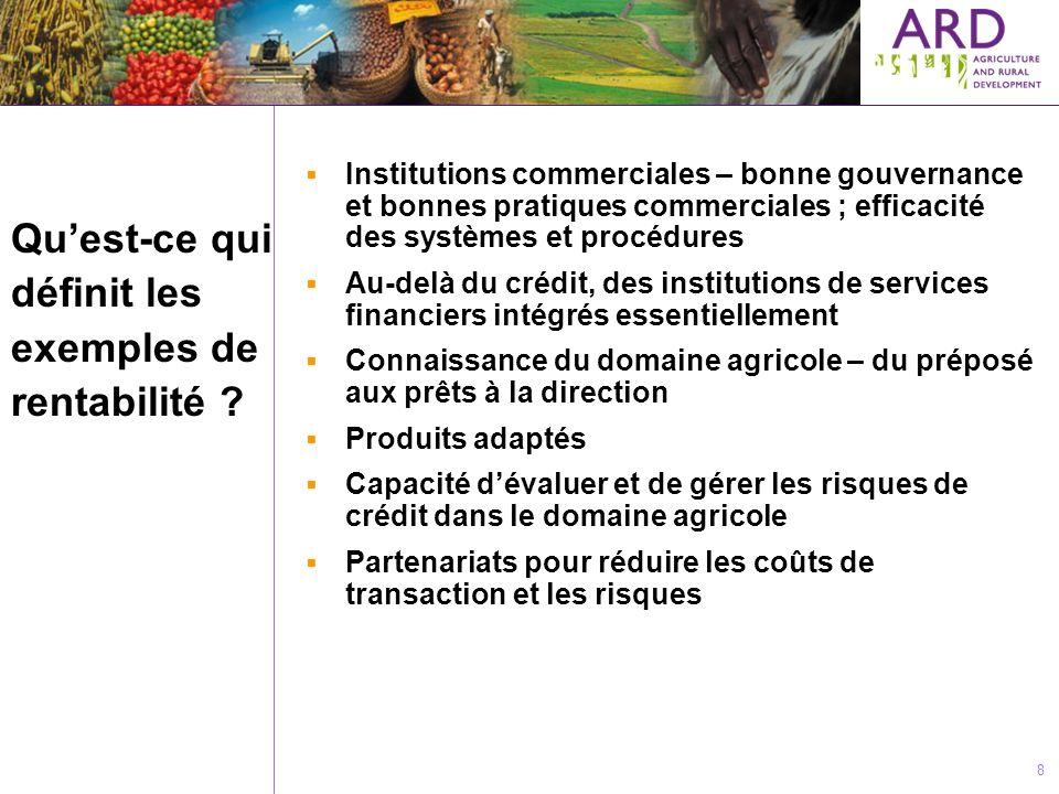 8 Quest-ce qui définit les exemples de rentabilité ? Institutions commerciales – bonne gouvernance et bonnes pratiques commerciales ; efficacité des s