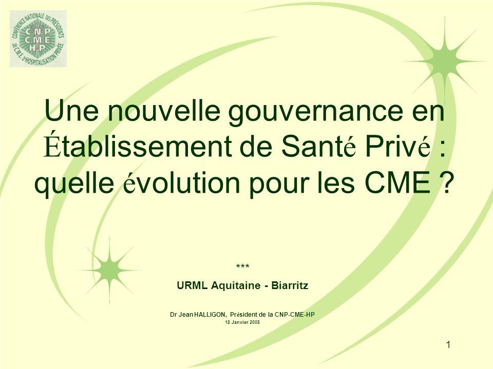 1 Une nouvelle gouvernance en É tablissement de Sant é Priv é : quelle é volution pour les CME .