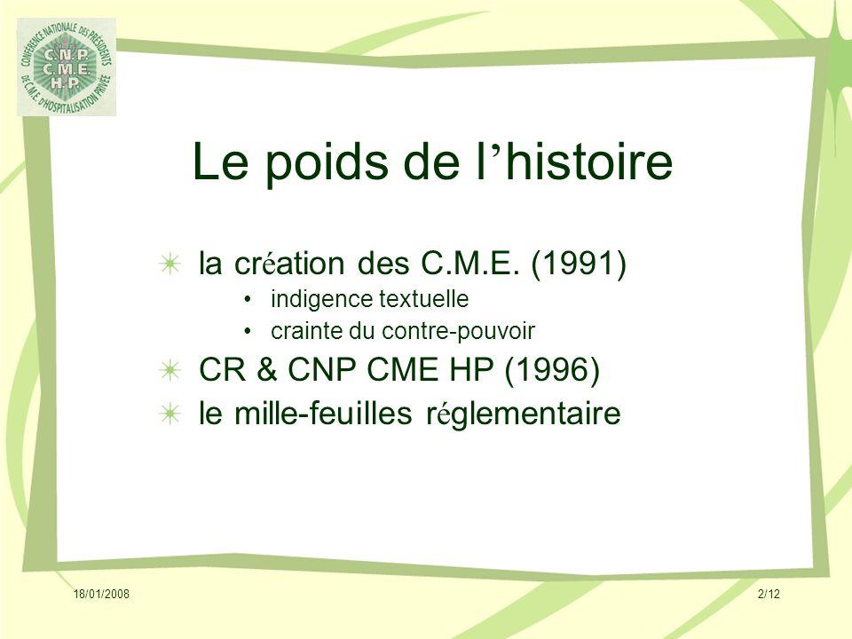 18/01/20082/12 Le poids de l histoire la cr é ation des C.M.E.