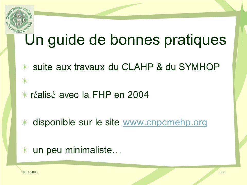 18/01/20086/12 Un guide de bonnes pratiques suite aux travaux du CLAHP & du SYMHOP r é alis é avec la FHP en 2004 disponible sur le site www.cnpcmehp.orgwww.cnpcmehp.org un peu minimaliste …