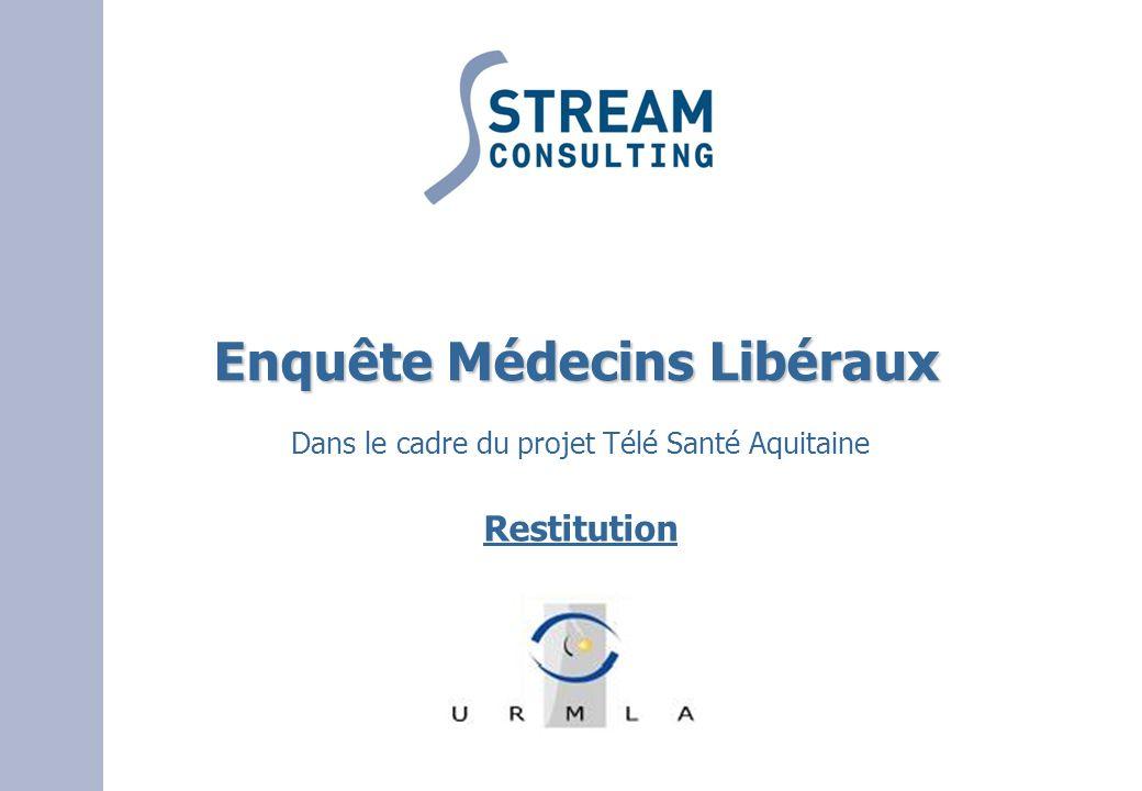 Enquête Médecins Libéraux Enquête Médecins Libéraux Dans le cadre du projet Télé Santé Aquitaine Restitution