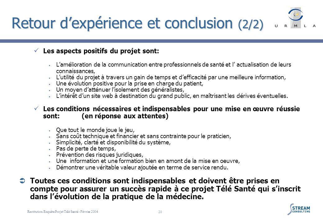 Restitution Enquête Projet Télé Santé - Février 2004 20 Retour dexpérience et conclusion (2/2) Les aspects positifs du projet sont: Lamélioration de l