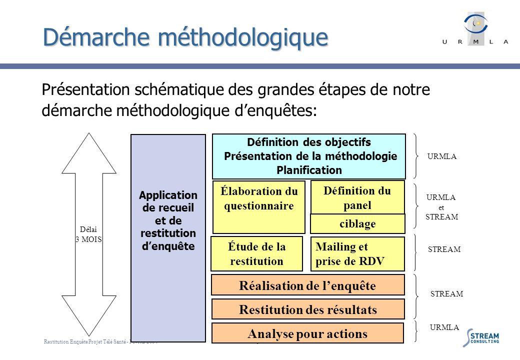 Restitution Enquête Projet Télé Santé - Février 2004 5 Démarche méthodologique Application de recueil et de restitution denquête Définition des object