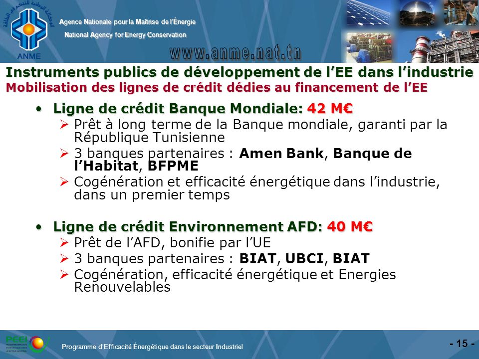 Agence Nationale pour la Maîtrise de l'Énergie National Agency for Energy Conservation National Agency for Energy Conservation Ligne de crédit Banque