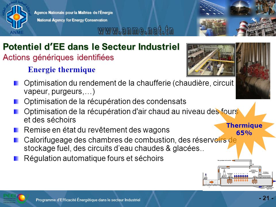 Agence Nationale pour la Maîtrise de l'Énergie National Agency for Energy Conservation National Agency for Energy Conservation - 21 - Optimisation du