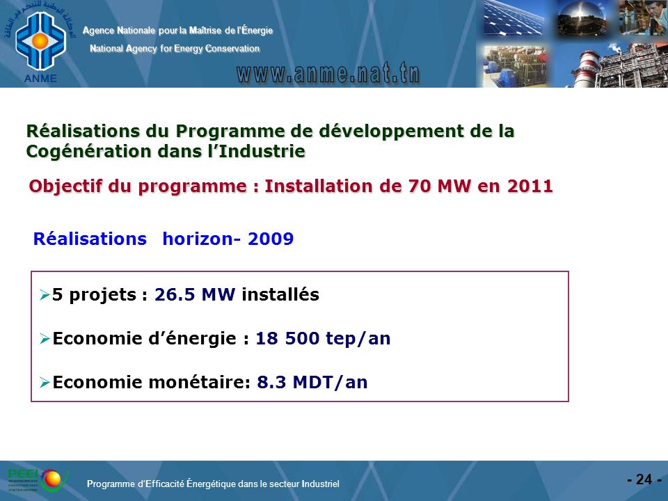 Agence Nationale pour la Maîtrise de l'Énergie National Agency for Energy Conservation National Agency for Energy Conservation - 24 - 5 projets : 26.5