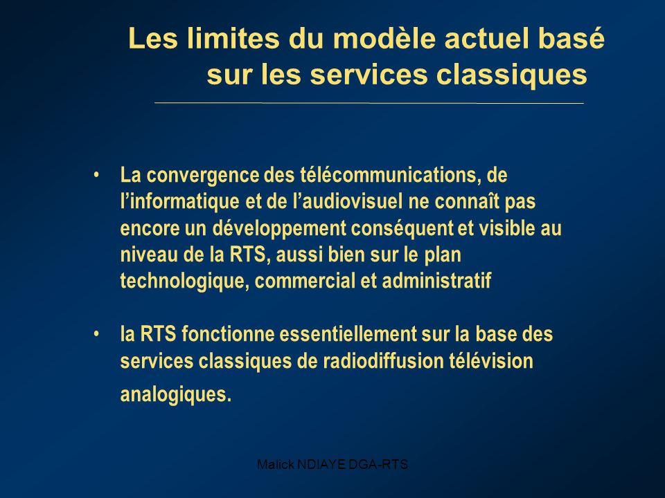 Malick NDIAYE DGA-RTS Les limites du modèle actuel basé sur les services classiques La convergence des télécommunications, de linformatique et de laud