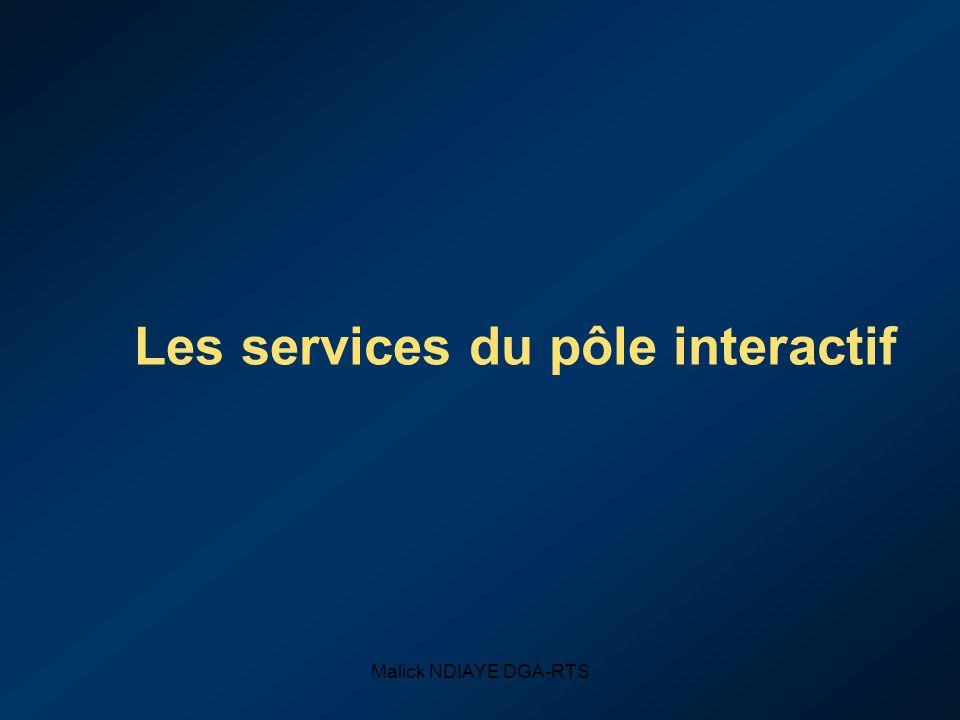 Malick NDIAYE DGA-RTS Les services du pôle interactif