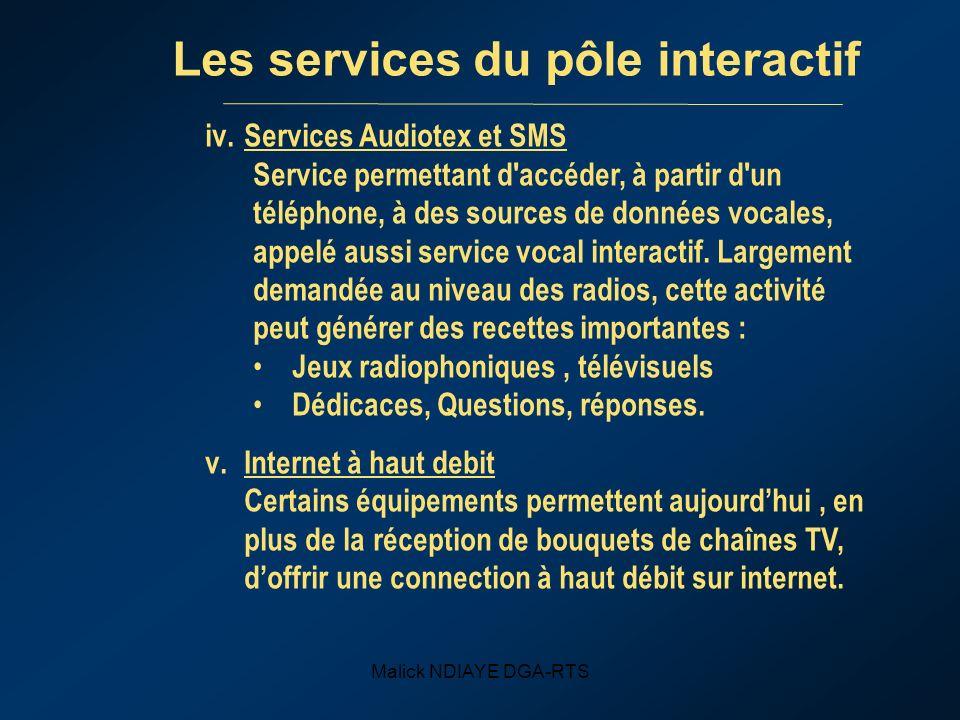 Malick NDIAYE DGA-RTS Les services du pôle interactif iv.Services Audiotex et SMS Service permettant d accéder, à partir d un téléphone, à des sources de données vocales, appelé aussi service vocal interactif.