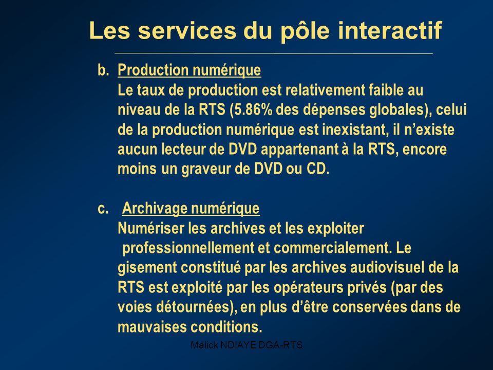 Malick NDIAYE DGA-RTS Les services du pôle interactif b.Production numérique Le taux de production est relativement faible au niveau de la RTS (5.86% des dépenses globales), celui de la production numérique est inexistant, il nexiste aucun lecteur de DVD appartenant à la RTS, encore moins un graveur de DVD ou CD.