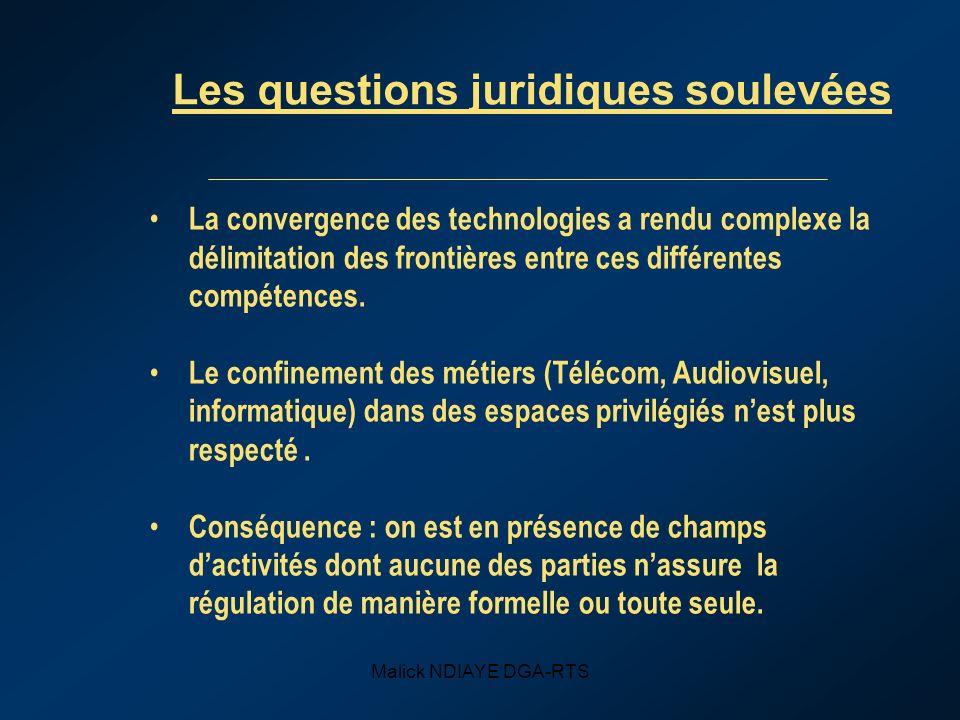 Malick NDIAYE DGA-RTS Les questions juridiques soulevées La convergence des technologies a rendu complexe la délimitation des frontières entre ces différentes compétences.