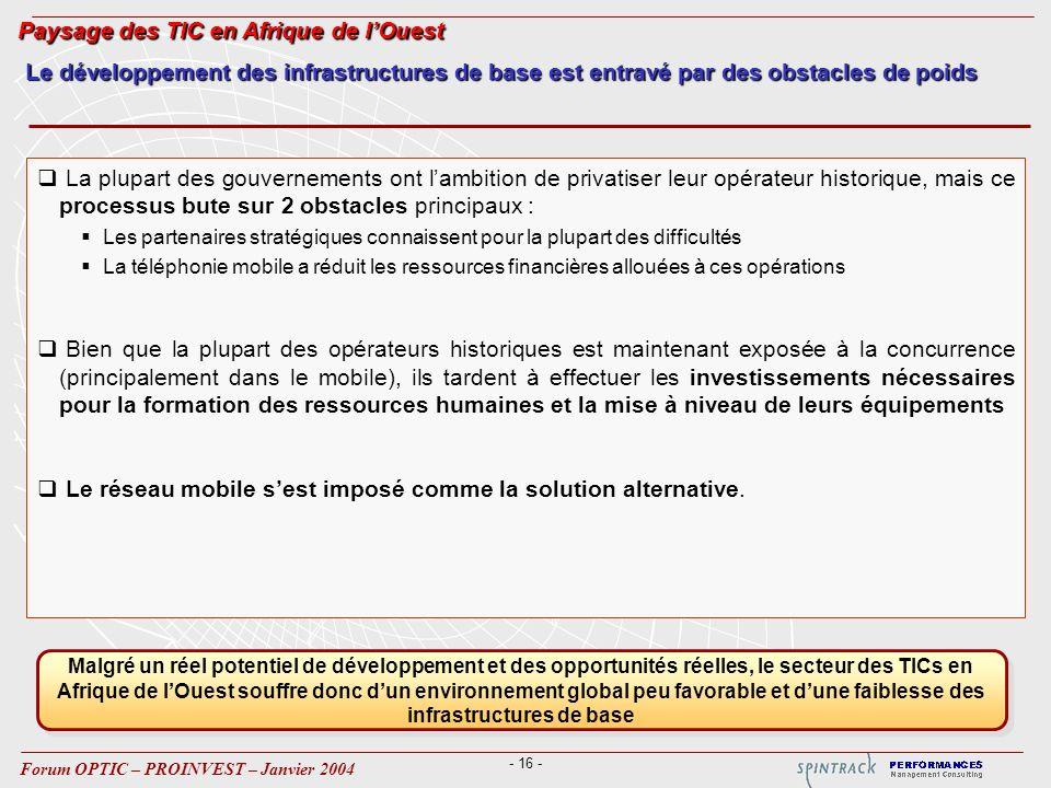- 16 - Forum OPTIC – PROINVEST – Janvier 2004 La plupart des gouvernements ont lambition de privatiser leur opérateur historique, mais ce processus bu