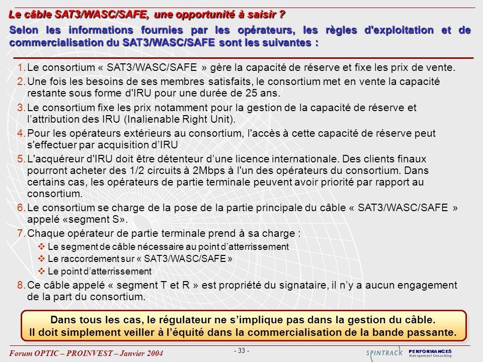 - 33 - Forum OPTIC – PROINVEST – Janvier 2004 1.Le consortium « SAT3/WASC/SAFE » gère la capacité de réserve et fixe les prix de vente. 2.Une fois les