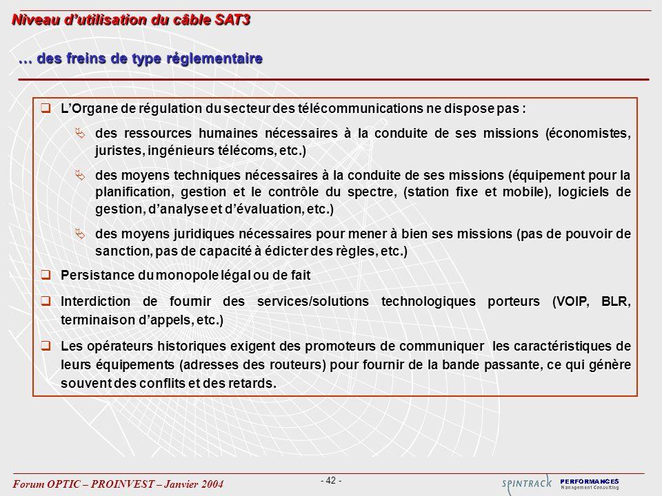 - 42 - Forum OPTIC – PROINVEST – Janvier 2004 … des freins de type réglementaire LOrgane de régulation du secteur des télécommunications ne dispose pa