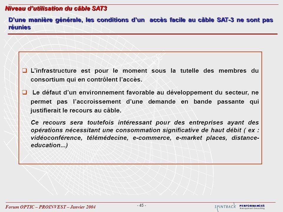 - 45 - Forum OPTIC – PROINVEST – Janvier 2004 Linfrastructure est pour le moment sous la tutelle des membres du consortium qui en contrôlent laccès.