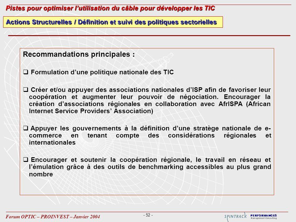 - 52 - Forum OPTIC – PROINVEST – Janvier 2004 Actions Structurelles / Définition et suivi des politiques sectorielles Pistes pour optimiser lutilisati