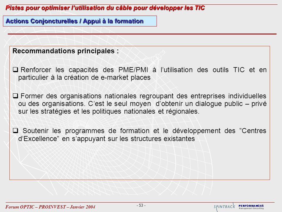 - 53 - Forum OPTIC – PROINVEST – Janvier 2004 Actions Conjoncturelles / Appui à la formation Pistes pour optimiser lutilisation du câble pour développ