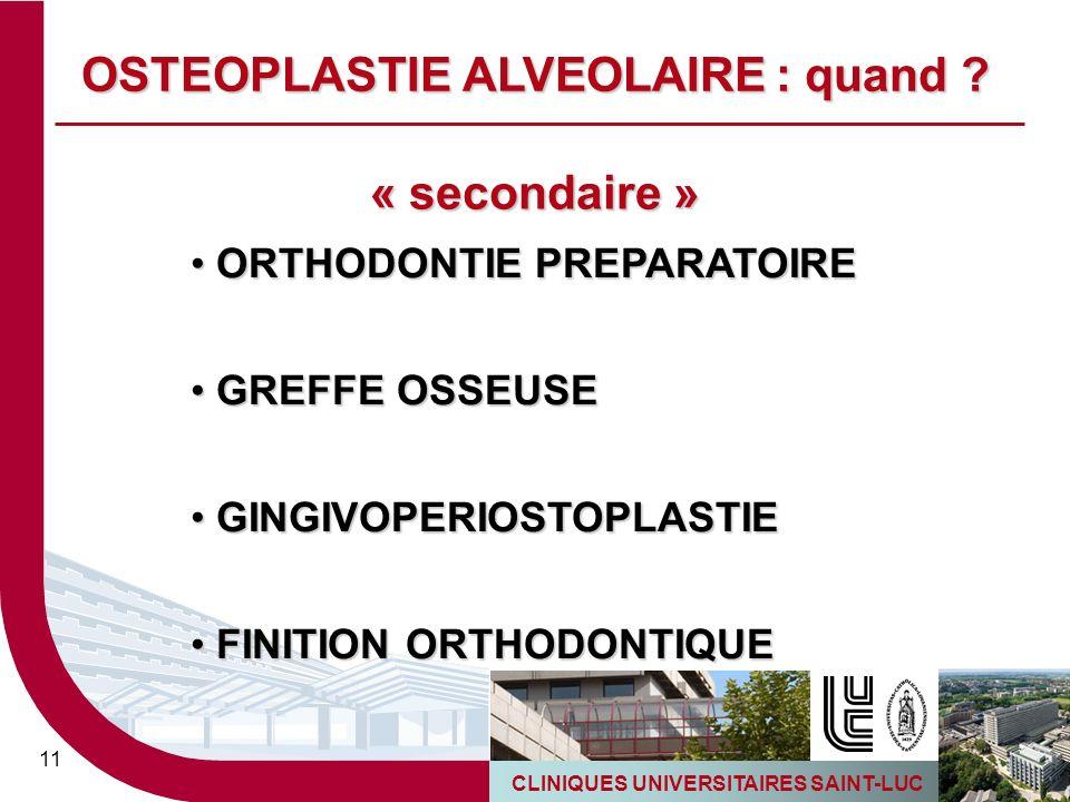 CLINIQUES UNIVERSITAIRES SAINT-LUC 11 « secondaire » ORTHODONTIE PREPARATOIRE ORTHODONTIE PREPARATOIRE GREFFE OSSEUSE GREFFE OSSEUSE GINGIVOPERIOSTOPL