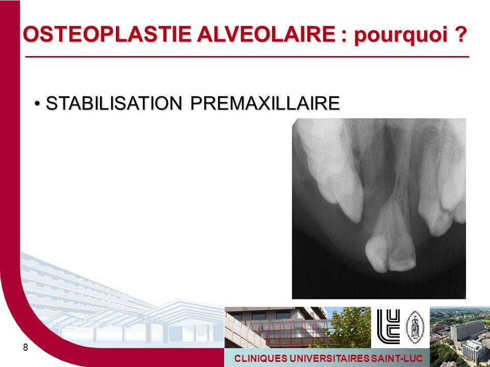 CLINIQUES UNIVERSITAIRES SAINT-LUC 8 STABILISATION PREMAXILLAIRE STABILISATION PREMAXILLAIRE OSTEOPLASTIE ALVEOLAIRE : pourquoi ?