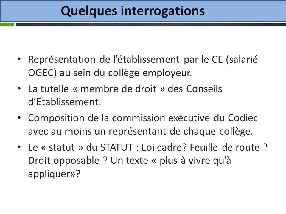 Quelques interrogations Représentation de létablissement par le CE (salarié OGEC) au sein du collège employeur.