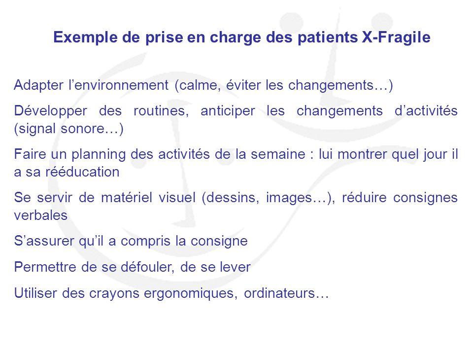 Exemple de prise en charge des patients X-Fragile Adapter lenvironnement (calme, éviter les changements…) Développer des routines, anticiper les chang