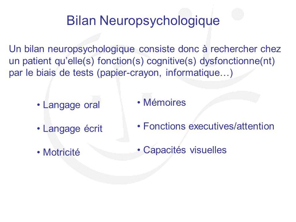 Bilan Neuropsychologique Un bilan neuropsychologique consiste donc à rechercher chez un patient quelle(s) fonction(s) cognitive(s) dysfonctionne(nt) p