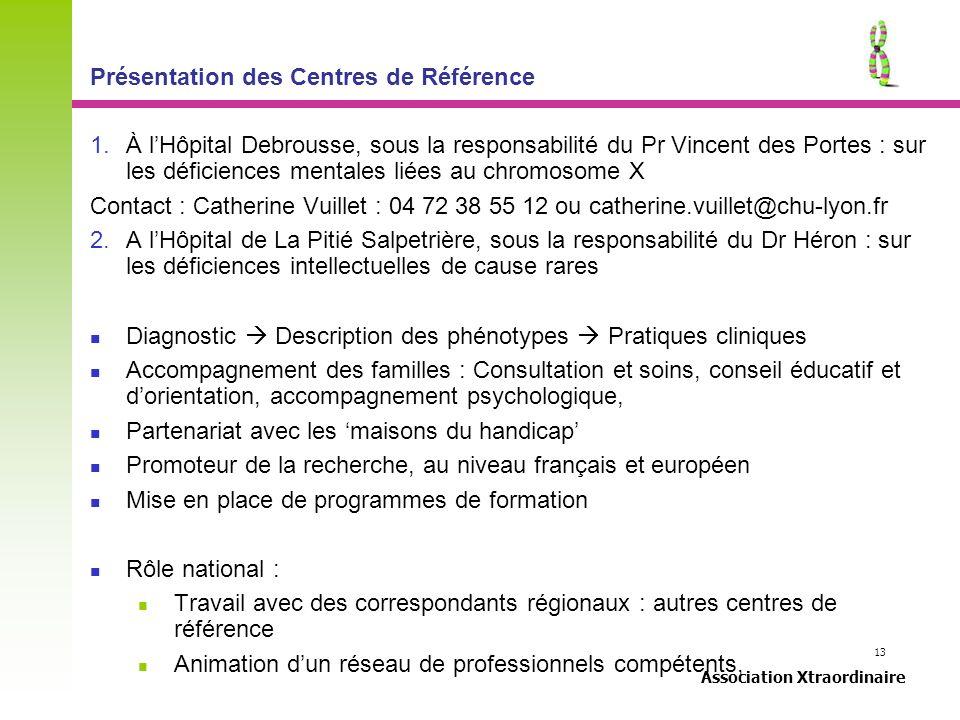 13 Association Xtraordinaire Présentation des Centres de Référence 1.À lHôpital Debrousse, sous la responsabilité du Pr Vincent des Portes : sur les d