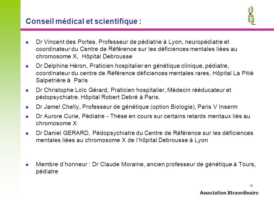 15 Association Xtraordinaire Conseil médical et scientifique : Dr Vincent des Portes, Professeur de pédiatrie à Lyon, neuropédiatre et coordinateur du