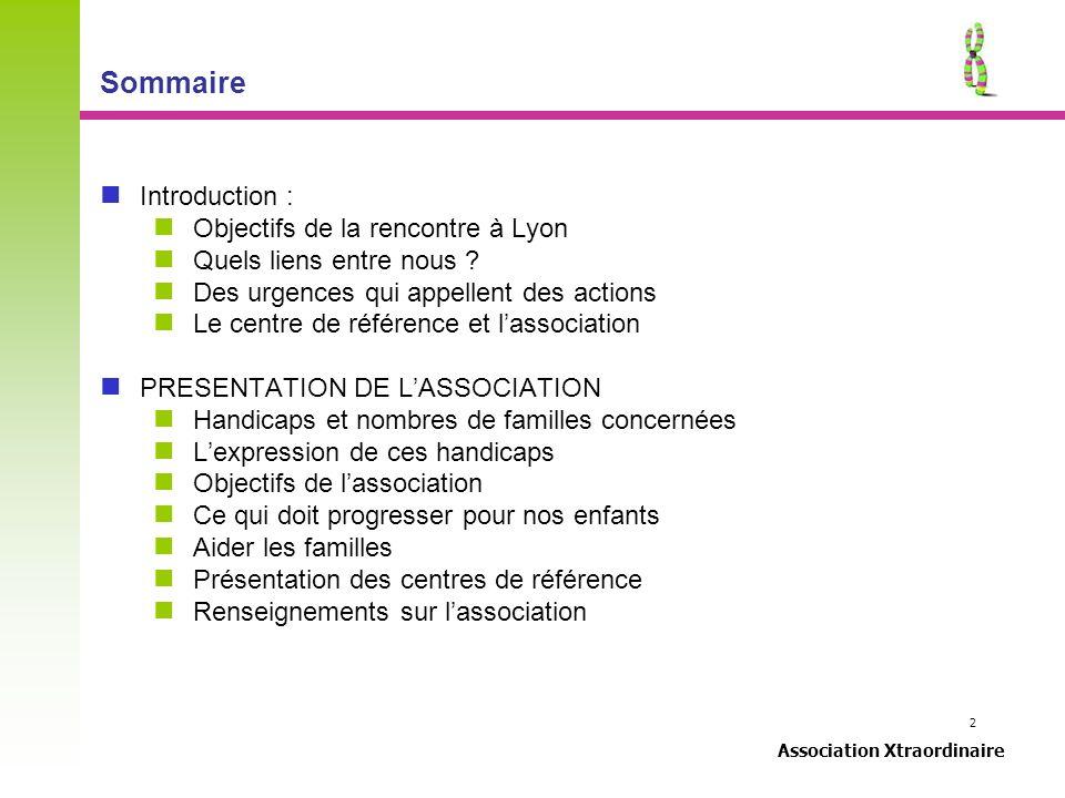2 Association Xtraordinaire Sommaire Introduction : Objectifs de la rencontre à Lyon Quels liens entre nous ? Des urgences qui appellent des actions L