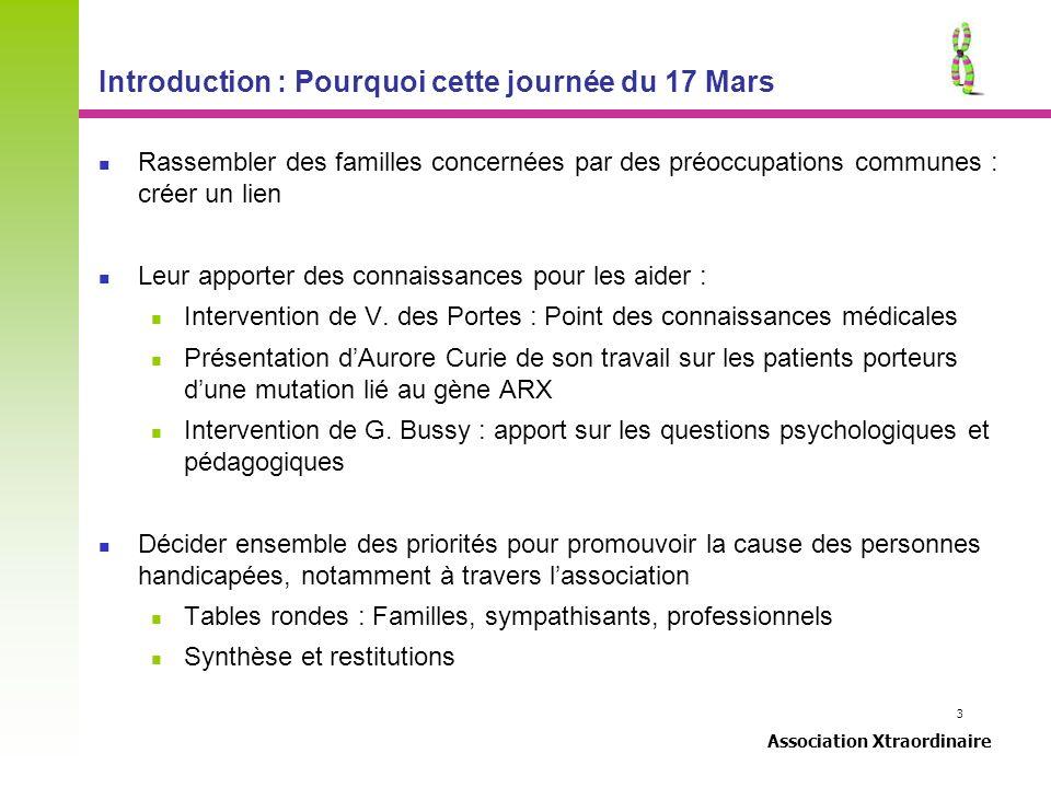 3 Association Xtraordinaire Introduction : Pourquoi cette journée du 17 Mars Rassembler des familles concernées par des préoccupations communes : crée