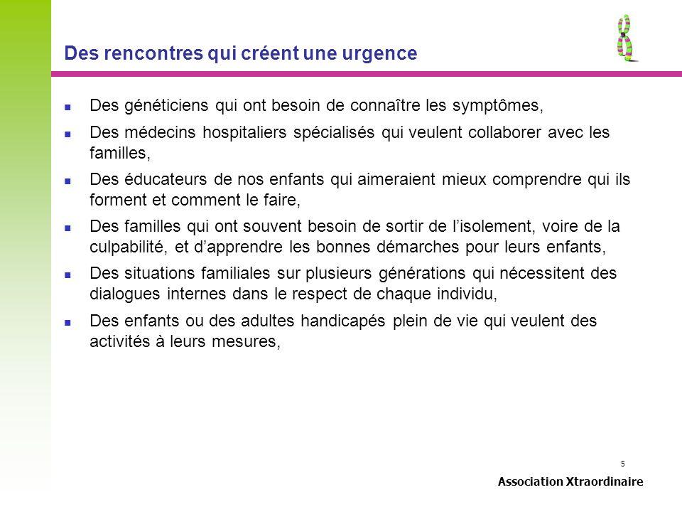 5 Association Xtraordinaire Des rencontres qui créent une urgence Des généticiens qui ont besoin de connaître les symptômes, Des médecins hospitaliers
