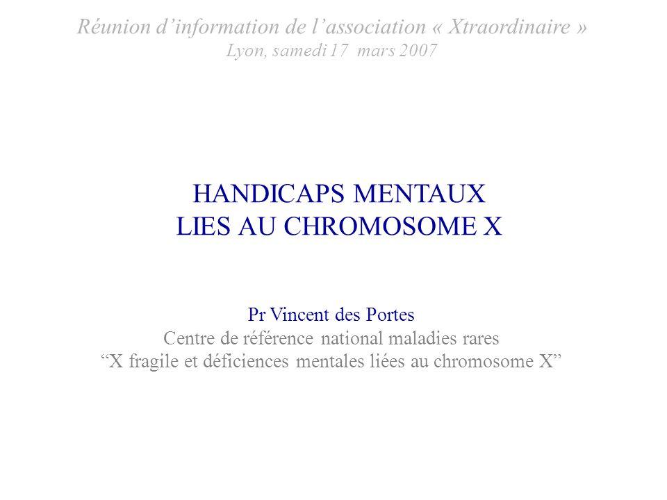 HANDICAPS MENTAUX LIES AU CHROMOSOME X Pr Vincent des Portes Centre de référence national maladies rares X fragile et déficiences mentales liées au ch