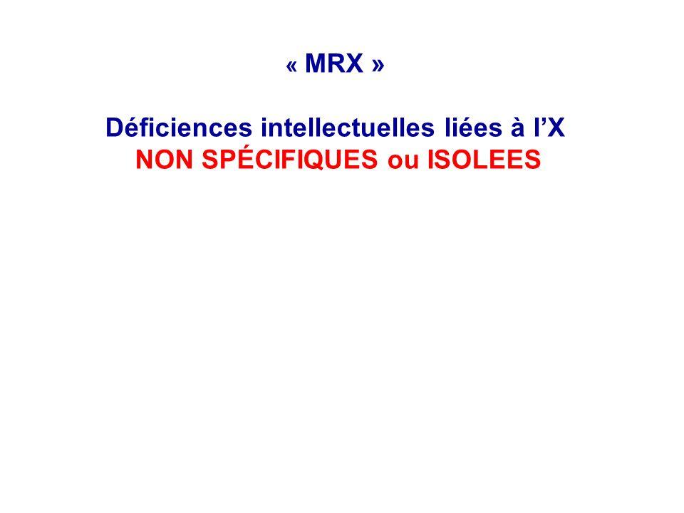 « MRX » Déficiences intellectuelles liées à lX NON SPÉCIFIQUES ou ISOLEES