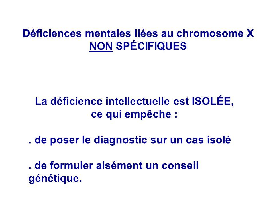 La déficience intellectuelle est ISOLÉE, ce qui empêche :. de poser le diagnostic sur un cas isolé. de formuler aisément un conseil génétique. Déficie