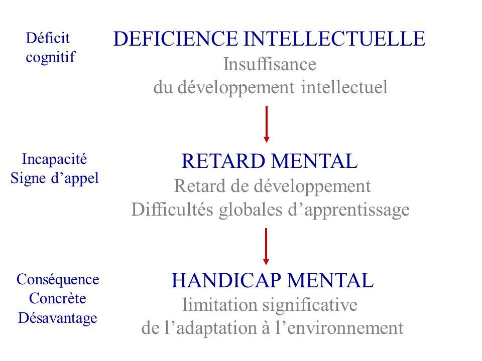 DEFICIENCE INTELLECTUELLE Insuffisance du développement intellectuel RETARD MENTAL Retard de développement Difficultés globales dapprentissage HANDICA