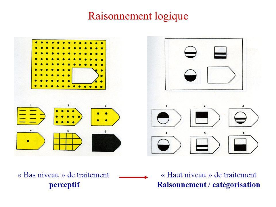 Raisonnement logique « Bas niveau » de traitement perceptif « Haut niveau » de traitement Raisonnement / catégorisation